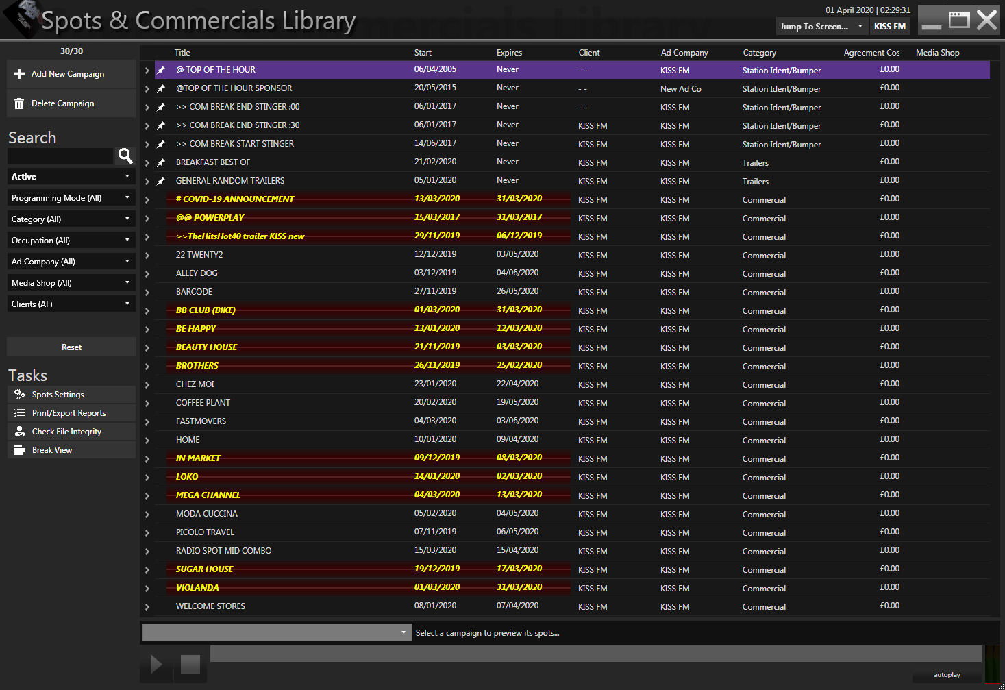 The Spots & Commercials library is where you store and schedule all your commercials and jingles used in a commercial break. The commercials marked red are the ones that have expired and do not air anymore. You can also pin commercials or jingles to the top so you can have easy access to them.